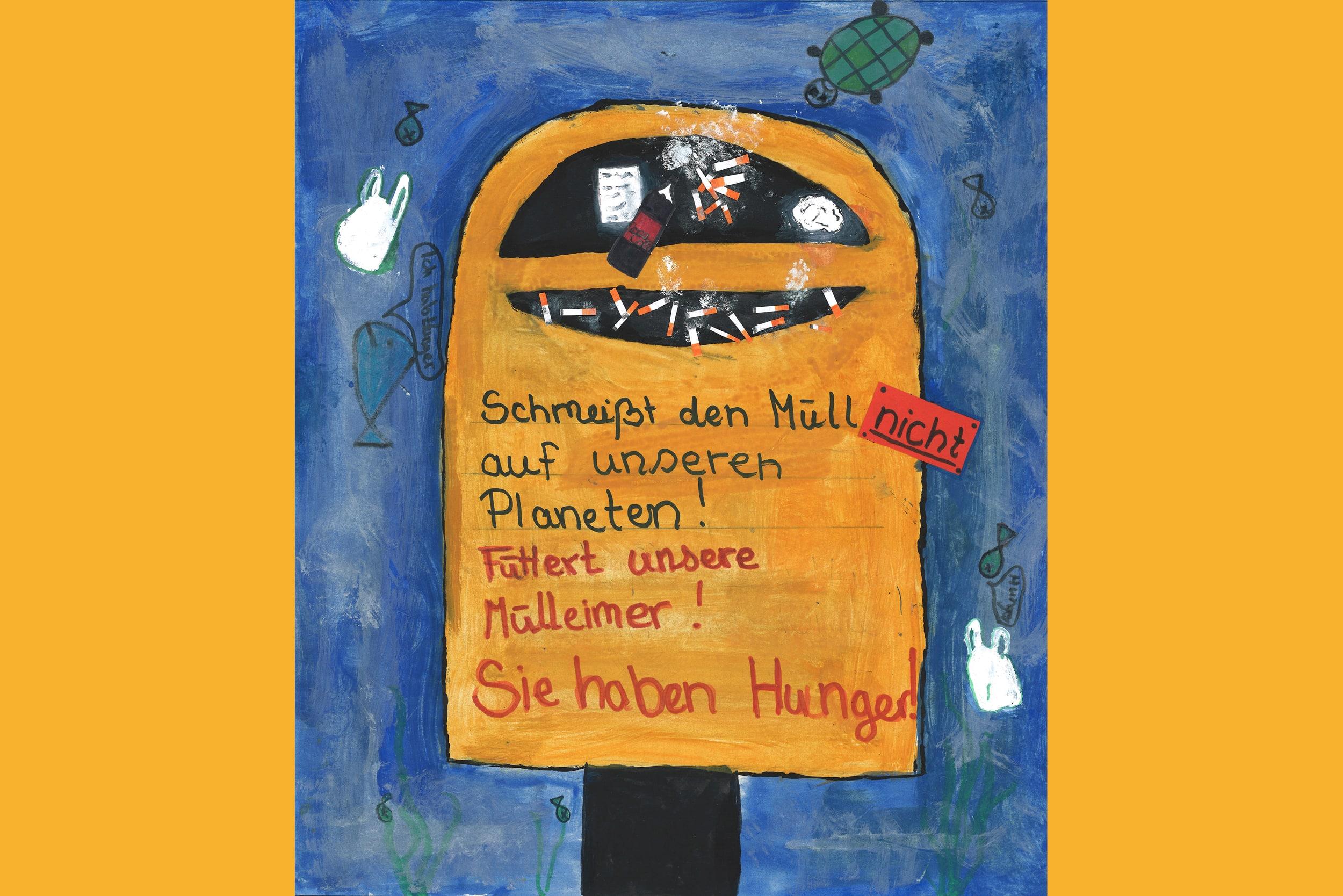 Plakat zum Thema Müll gehört in den Mülleimer