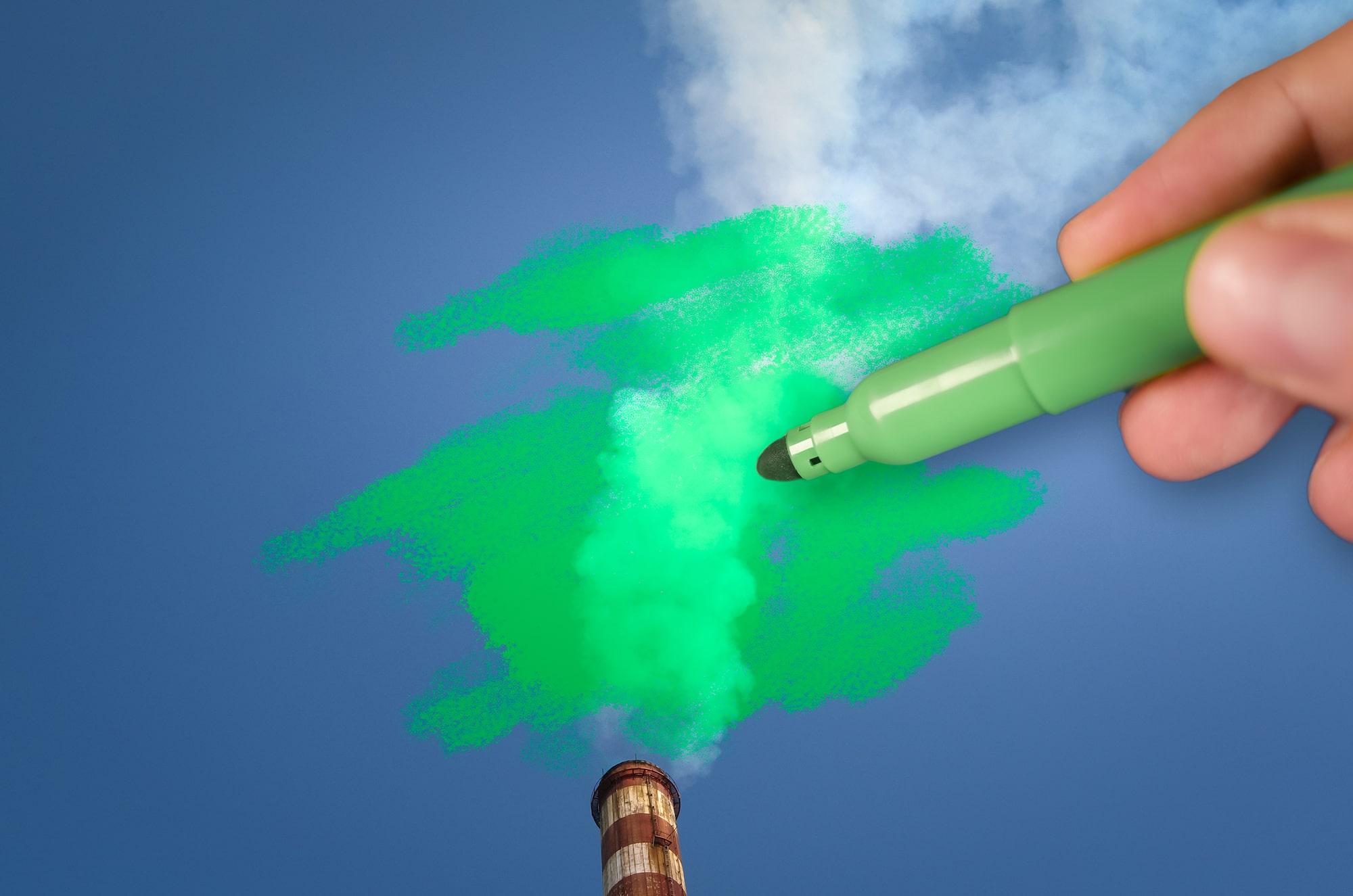 Aus einem Fabrikschornstein kommt weißer Rauch raus. Dieser wird mit einem grünen Stift angemalt.